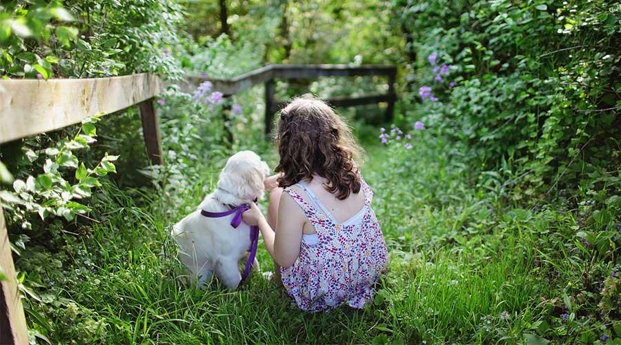 Aufnahme eines Kindes mit Hund im Wald