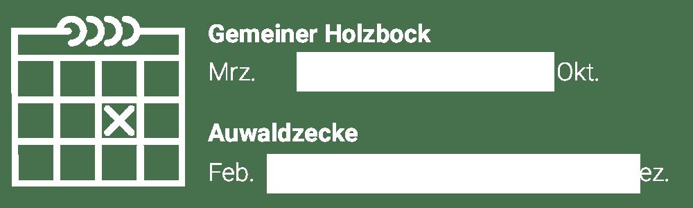 Grafik: Zeckenaktivität Holzbock vs. Auwaldzecke