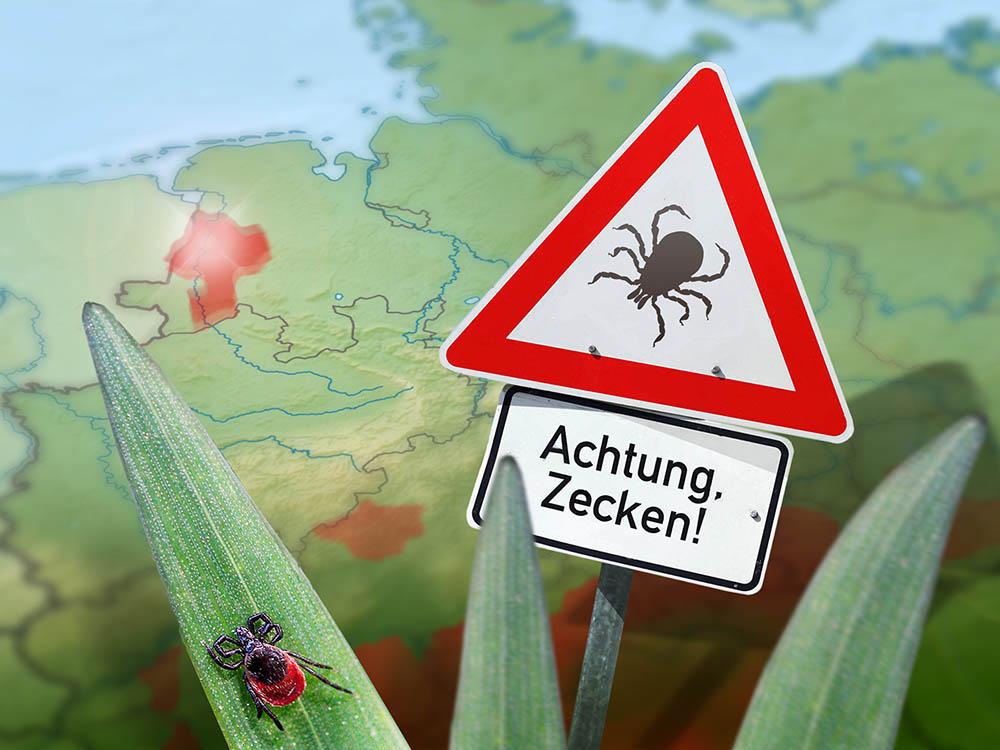 Deutschlandkarte mit Zeckenwarnschild