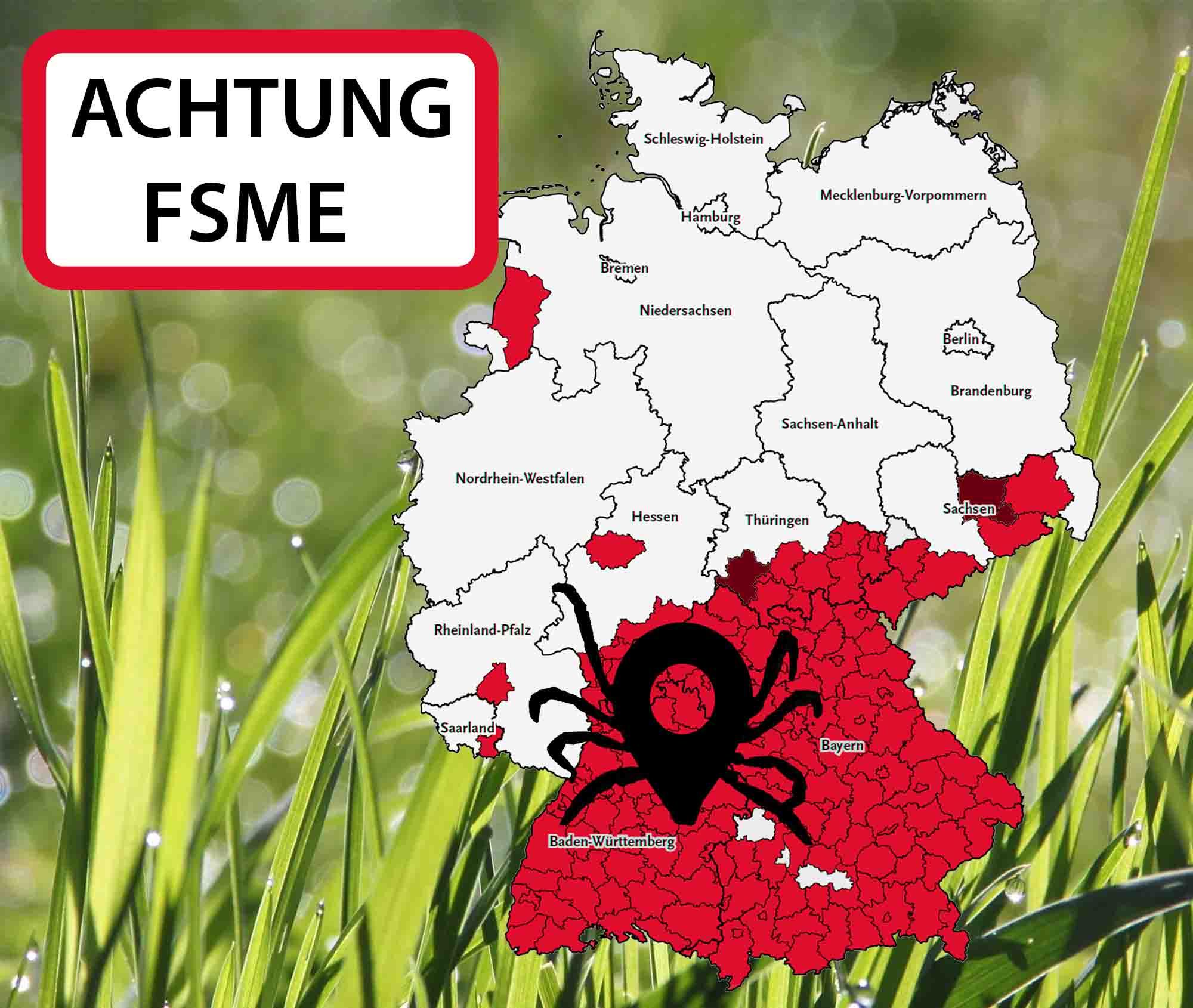 Deutschlandkarte mit den neuen FSME-Risikogebieten 2020